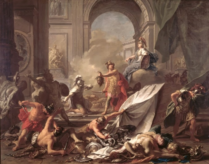 jean-marc_nattier_-_perseus2c_under_the_protection_of_minerva2c_turns_phineus_to_stone_by_brandishing_the_head_of_medusa