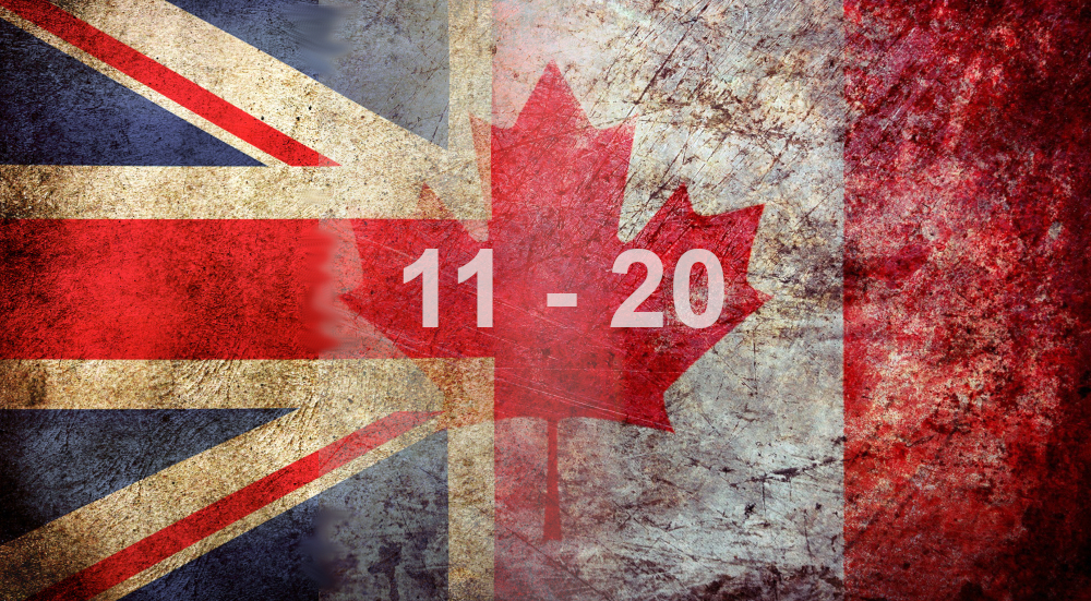 UK/Canada Differences: 11 – 20