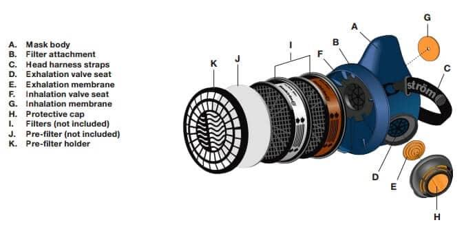 sundstrom_SR100_respirator_parts